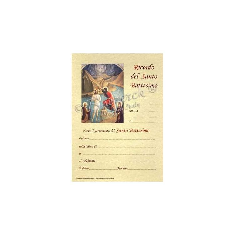 Pergamena In Ricordo del Santo Battesimo (del B. Angelico)