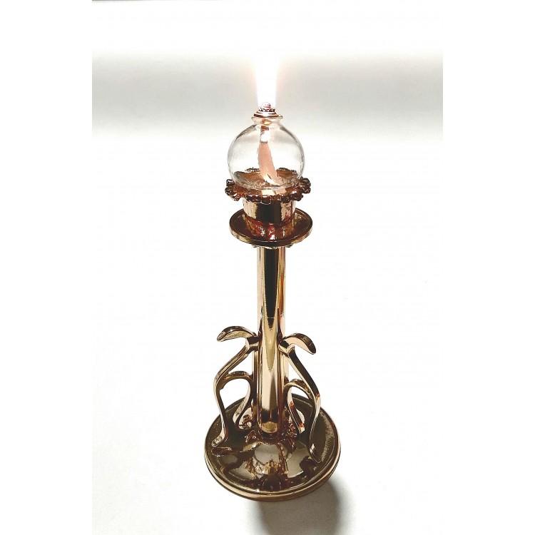 Candelabro 1 candele dorato con globi