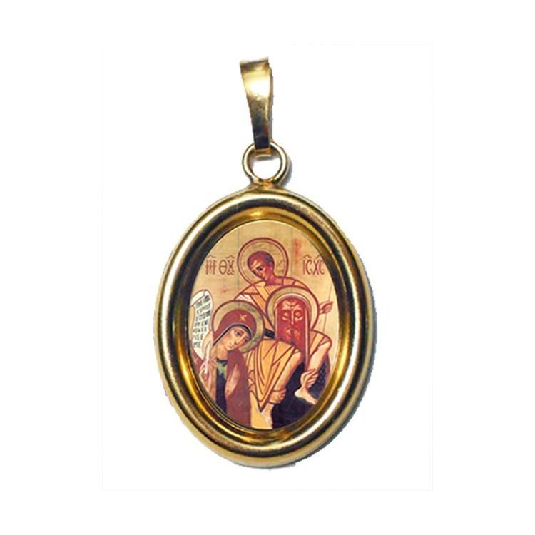 Sacra Famiglia su Ciondolo in Argento 925°°° Dorato Lucido
