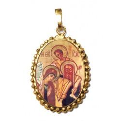 Sacra Famiglia su Ciondolo in Argento 925°°° a Corona