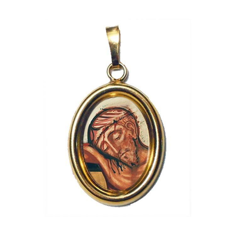 Il Riposo di Cristo su Ciondolo in Argento 925°°° Dorato Lucido