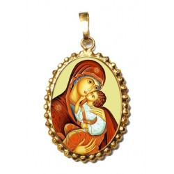 La Madonna dell' Incarnazione su Ciondolo in Argento 925°°° a Corona