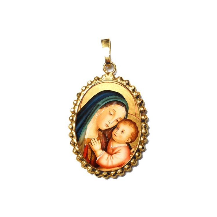 La Madonna del Buon Consiglio su Ciondolo in Argento 925°°° a Corona