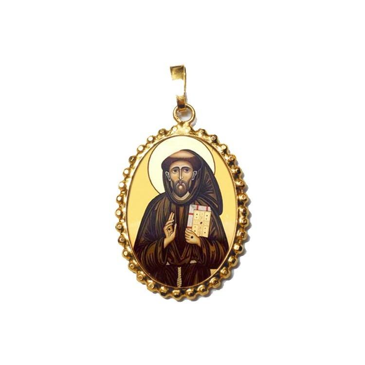 San Francescosu Ciondolo in Argento 925°°° a Corona