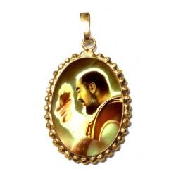San Pio da Pietrelcina su Ciondolo in Argento 925°°° a Corona