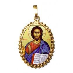 Cristo Pantocrator su Ciondolo in Argento 925°°° a Corona