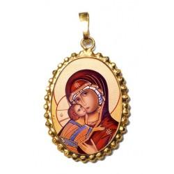 La Vergine di Vladimir su Ciondolo in Argento 925°°° a Corona