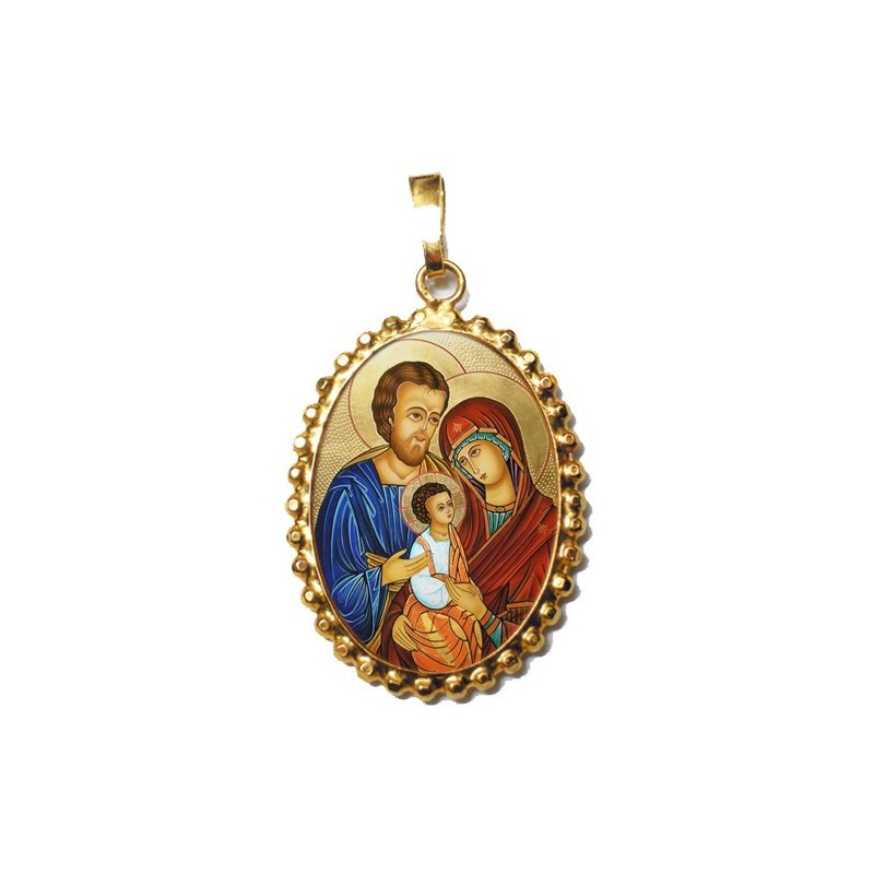 La Sacra Famiglia su Ciondolo in Argento 925°°° a Corona