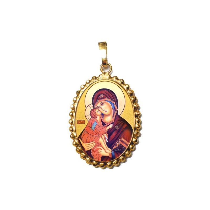 La Vergine della Tenerezza su Ciondolo in Argento 925°°° a Corona