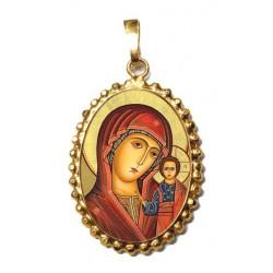 La Madonna di Kazan su Ciondolo in Argento 925°°° a Corona