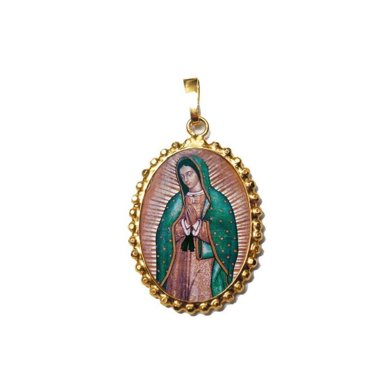 La Madonna di Guadalupe su Ciondolo in Argento 925°°° a Corona