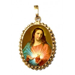 Il Sacro Cuore di Gesù su Ciondolo in Argento 925°°° a Corona