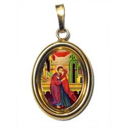 Sant' Anna e Gioacchino su Ciondolo in Argento 925°°° Dorato Lucido