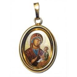 La Madonna di Sclavons su Ciondolo in Argento 925°°° Dorato Lucido