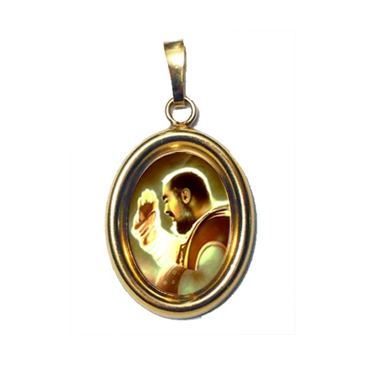 San Pio da Pietrelcina su Ciondolo in Argento 925°°° Dorato Lucido