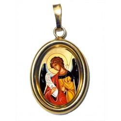 L' Arcangelo Gabriele su Ciondolo in Argento 925°°° Dorato Lucido