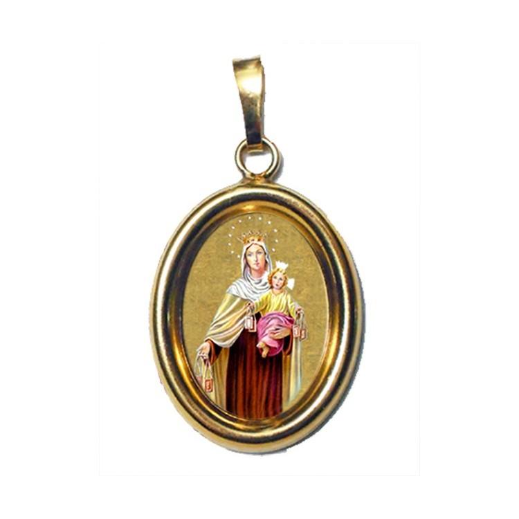 La Madonna del Carmelo su Ciondolo in Argento 925°°° Dorato Lucido