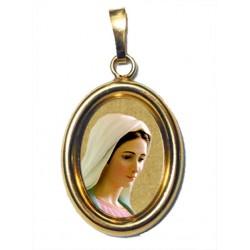 La Madonna di Medjugorje su Ciondolo in Argento 925°°° Dorato Lucido