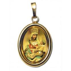 La Madonna di Castelmonte su Ciondolo in Argento 925°°° Dorato Lucido