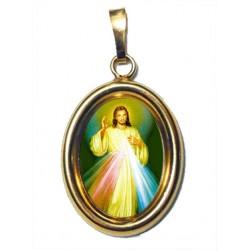 Gesù Misericordioso su Ciondolo in Argento 925°°° Dorato Lucido