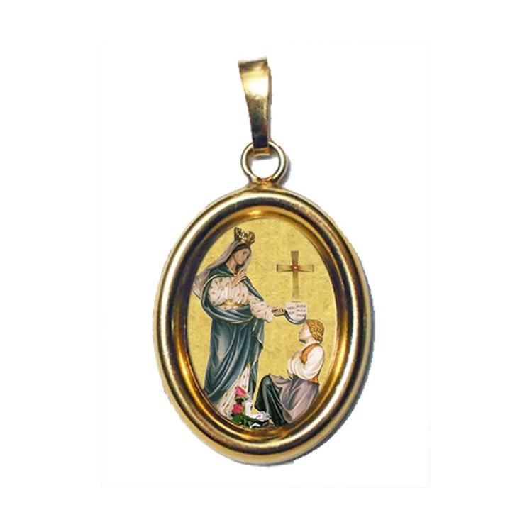 La Madonna di Porzus su Ciondolo in Argento 925°°° Dorato Lucido