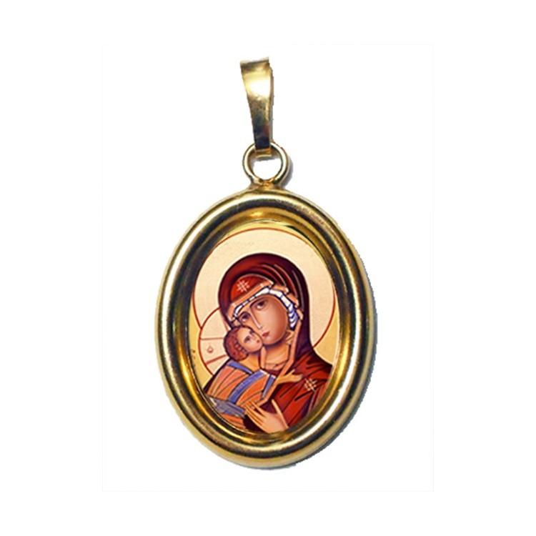 La Vergine di Vladimir su Ciondolo in Argento 925°°° Dorato Lucido