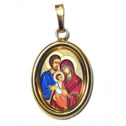 La Sacra Famiglia su Ciondolo in Argento 925°°° Dorato Lucido