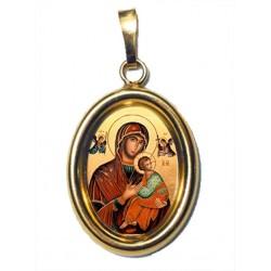 La Madonna del Perpetuo Soccorso su Ciondolo in Argento 925°°° Dorato Lucido