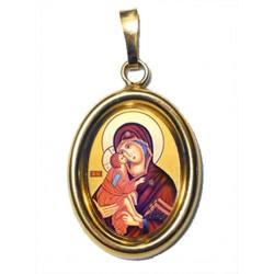 La Vergine della Tenerezza su Ciondolo in Argento 925°°° Dorato Lucido