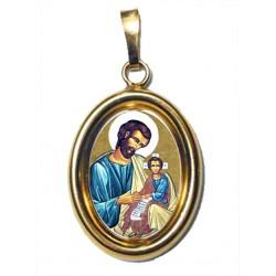 San Giuseppe su Ciondolo in Argento 925°°° Dorato Lucido