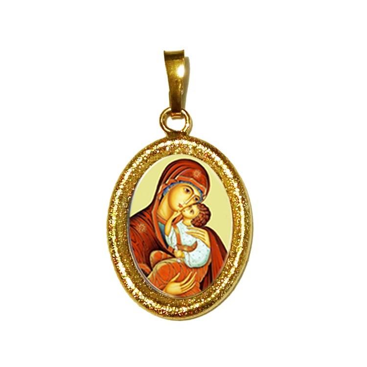 La Madonna dell' Incarnazione su Ciondolo in Argento 925°°° Diamantato