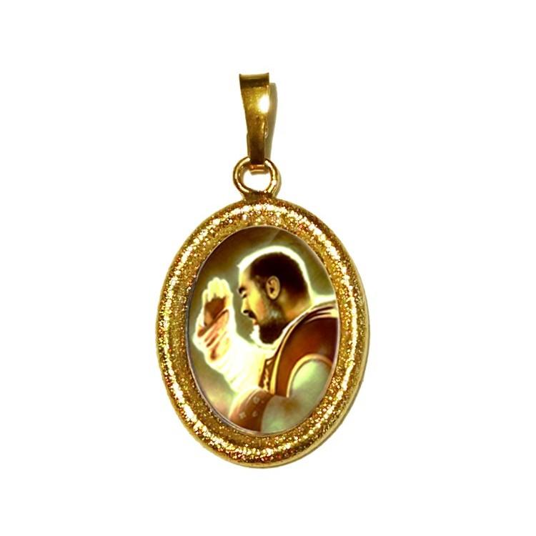 San Pio da Pietrelcina  su Ciondolo in Argento 925°°° Diamantato