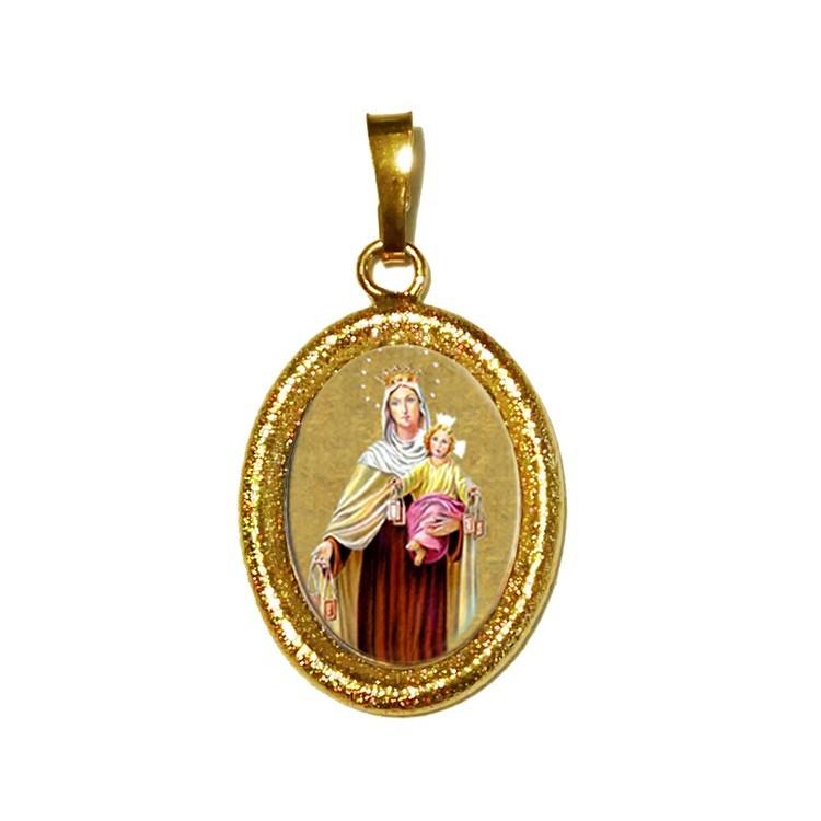 La Madonna del Carmelo su Ciondolo in Argento 925°°° Diamantato