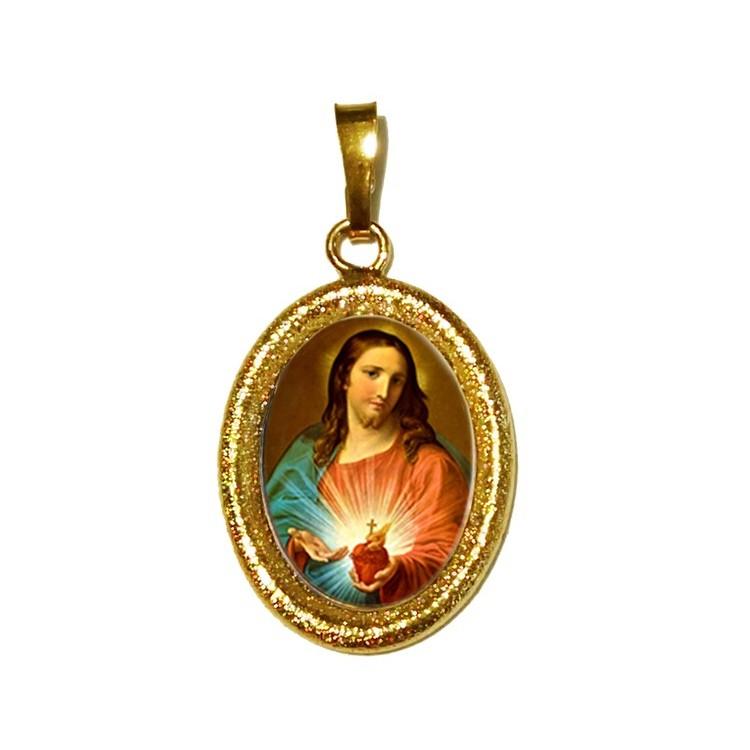 Il Sacro Cuore di Gesù su Ciondolo in Argento 925°°° Diamantato