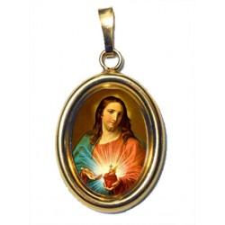 Il Sacro Cuore di Gesù su Ciondolo in Argento 925°°° Dorato Lucido