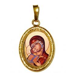 La Vergine di Vladimir su Ciondolo in Argento 925°°° Diamantato