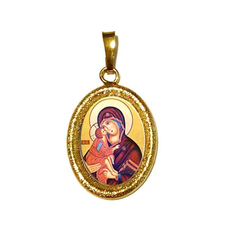 La Vergine della Tenerezza su Ciondolo in Argento 925°°° Diamantato