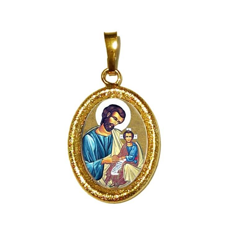 San Giuseppe su Ciondolo in Argento 925°°° Diamantato