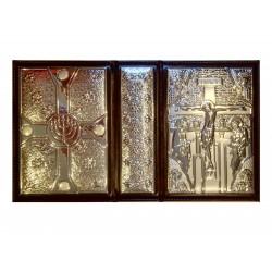 COPRI BIBBIA in Pelle con 3 Lastre Argentate