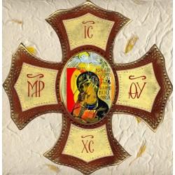 Croce con Madonna del Cammino Ovale 30x30 cm.