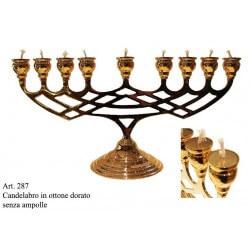 Candelabro MINORA' 9 candele in Ottone dorato