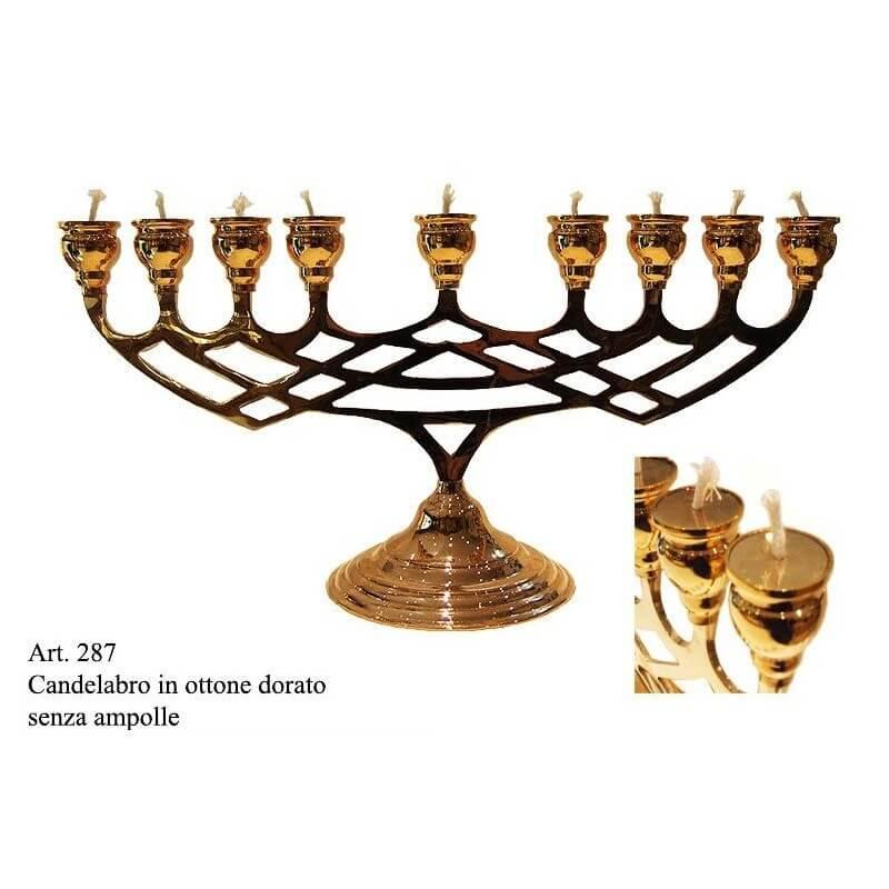 Candelabro MINORA' 9 candele in Ottone