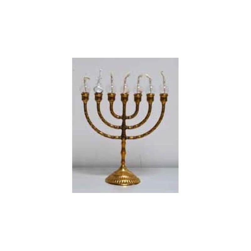 Candelabro Ebraico 7 candele in Ottone con globi