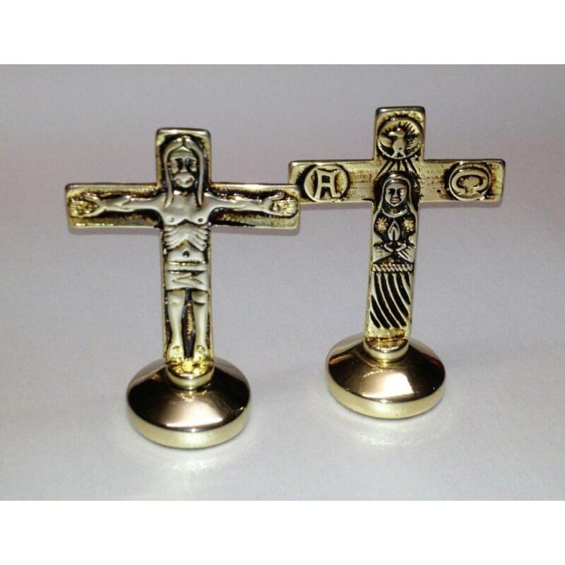Croce Traditio cromata per lodi da 9 cm. e Dorata