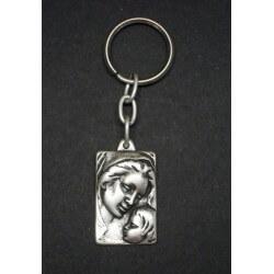 Portachiavi la Vergine con Bambino in metallo