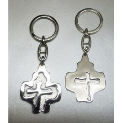 Portachiavi Croce Nascosta in metallo Nichelato