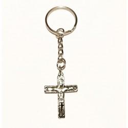 Portachiavi Croce Traditio in metallo Nichelato