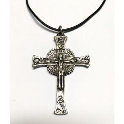 Collana con la Croce GLORIOSA da 7 cm. Argento Antico