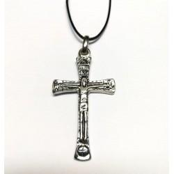 Collana con la Croce MERKABA da 5 cm. Cromata