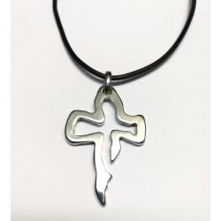 Collana con la Croce ABELE da 4,5 cm. Cromata